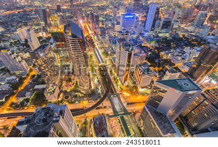 Aerial view building city center in Bangkok, Thailand - stock photo
