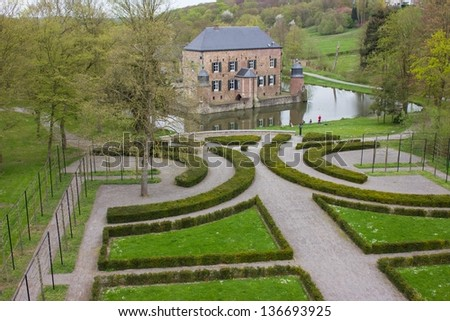 Aerial view Castle Erenstein Kerkrade Limburg