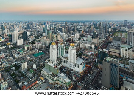 Aerial view, Central business downtown in Bangkok Thailand - stock photo