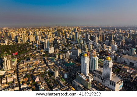 Aerial view city business area before sunset, Bangkok Thailand - stock photo