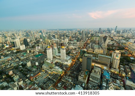 Aerial view city central business downtown in Bangkok Thailand - stock photo