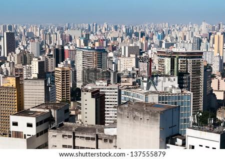 Aerial view city of sao paulo - stock photo