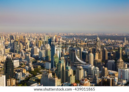 Aerial view, cityscape downtown skyline before sunset - stock photo