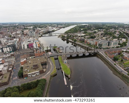 Aerial view cityscape of limerick city skyline, irelands 3rd largest city,  ireland