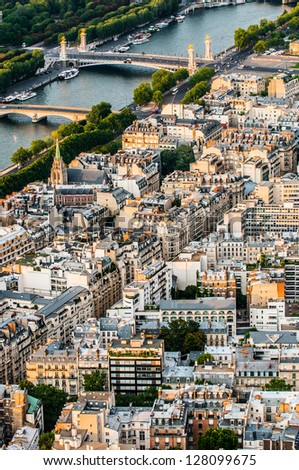 aerial view cityscape of Paris in france - stock photo