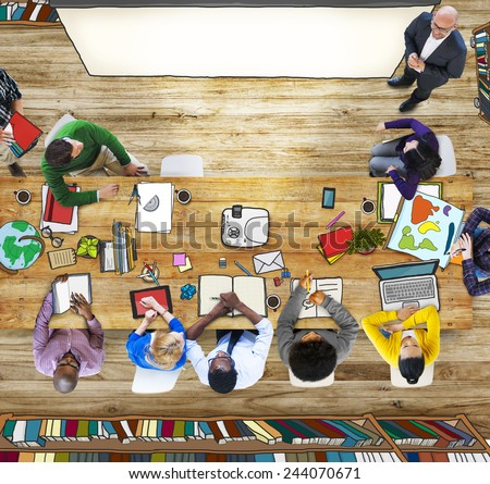 Aerial View Classroom Teacher Teaching Student Learning - stock photo