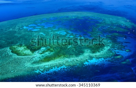 aerial view coral great barrier reef Queensland - stock photo