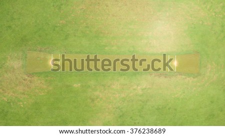 Aerial view directly above a Cricket Pitch - stock photo