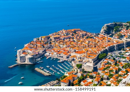 Aerial view Dubrovnik, a Croatian city on the Adriatic Sea, it is one of the most prominent tourist destinations in the Mediterranean. Pearl of the Adriatic - stock photo