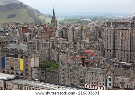 Aerial view Edinburgh, Scotland, UK - stock photo