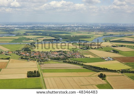 Aerial view Flevopolder - stock photo