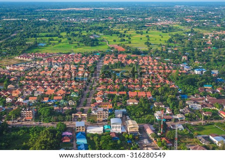 Aerial view from airplane of Udonthani city and fields, udonthani area,Thailand, Southeast thailand. - stock photo