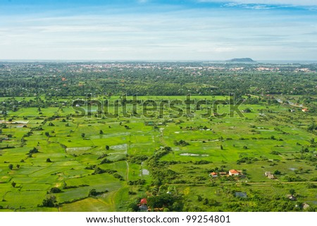 Aerial view from balloon of Siem Reap city and fields, Angkor area, Cambodia, Southeast Asia - stock photo