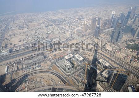 Aerial view from Burj Khalifa, Dubai United Arab Emirates - stock photo