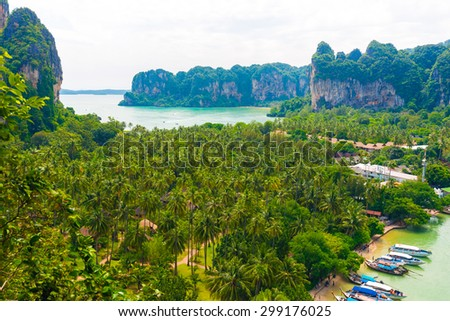 Aerial view from cliff on railay beach, krabi thailand - stock photo