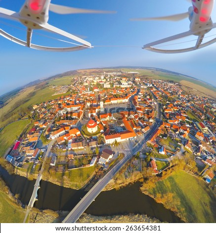 Aerial view from drone to small town in Western Bohemia (Dobrany), Czech Republic, Europe. - stock photo