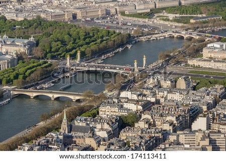 Aerial view from Eiffel Tower on Seine River - Paris, France. - stock photo