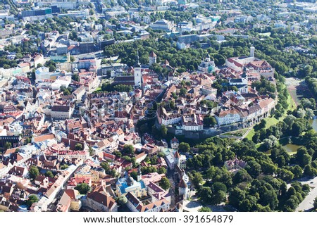 aerial view from helicopter at old town of tallinn, estonia, unesco world heritage site - stock photo