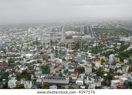 Aerial view from helicopter to Reykjavik and Hallgrimskirkja church, Iceland. - stock photo