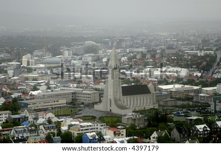 Aerial view from helicopter to Reykjavik and Hallgrimskirkja church, Iceland.