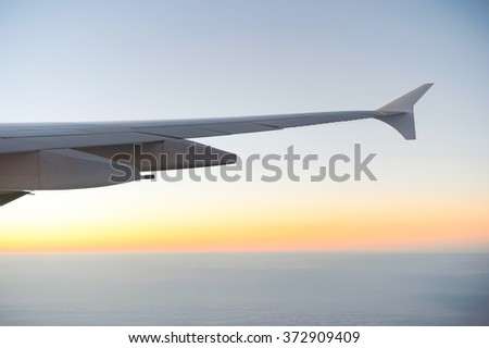 Aerial view from jet aircraft - stock photo