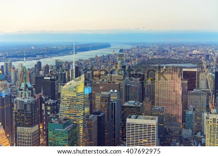 Aerial view from Observatory deck of the Empire State Building of Midtown Manhattan and Central Park, New York,USA. Skyline with skyscrapers. Upper Manhattan, Hudson river and New Jersey on background - stock photo