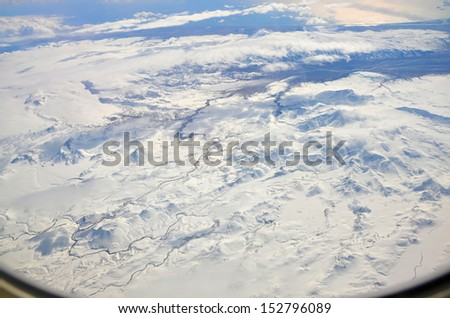 aerial view from plane on the Iceland - stock photo