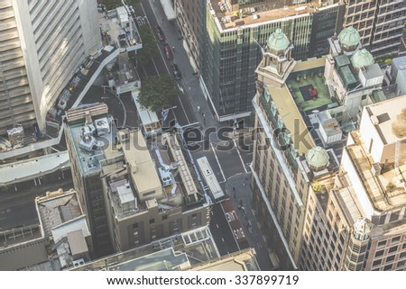 Aerial view from Sydney Tower in Sydney Australia - stock photo