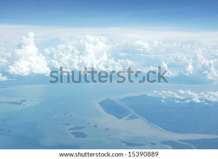 Aerial view from the airplane window - stock photo