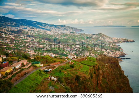 aerial view from the Cabo Girao cliff at the sunset, Madeira island, Portugal - stock photo