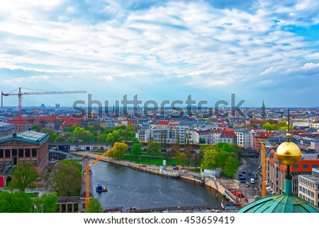 Aerial view from the Dome of Berlin Cathedral on Spree river. The Cathedral is placed in the Mitte borough in Berlin, Germany. - stock photo