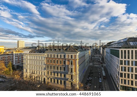 Aerial View from the Kolingasse along the Peregringasse through the first district of Vienna to the famous St Stephens Cathedral. - stock photo