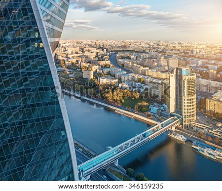 "Aerial view from the Moscow International Business Center ""Moscow-City"" with the Evolution Tower, the Bagration bridge, the Tower 2000 and the Moskva river"