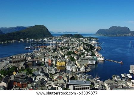 Aerial view from the mountain Aksla at the Alesund, Norway - stock photo
