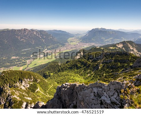 Aerial view from the Osterfeldkopf mountain over the village of Garmisch