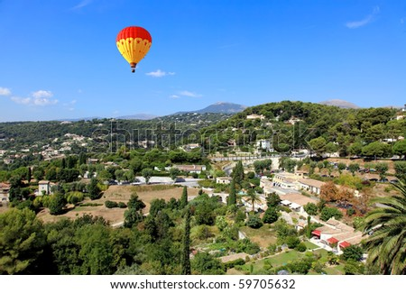 aerial view from the village of Saint-Paul de Vence, Southern France - stock photo