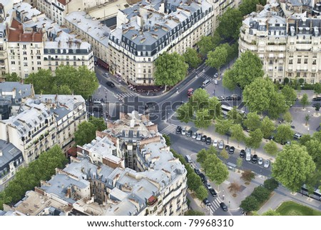 Aerial view from top of Eifell tower - stock photo