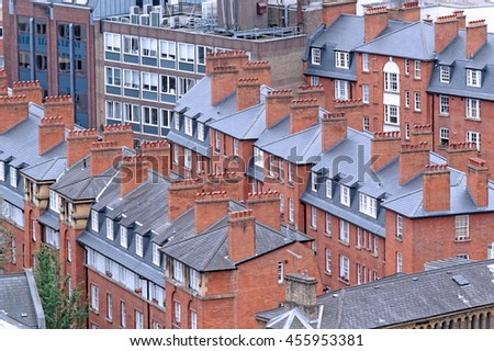 Aerial View from Westminster Cathedral of Roofs and Houses of London, United Kingdom. - stock photo