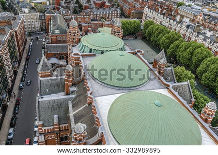 Aerial View from Westminster Cathedral on Roofs and Houses of London, United Kingdom. - stock photo