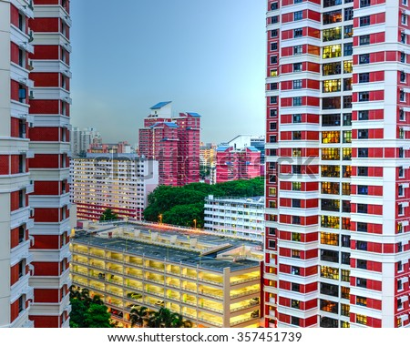 Aerial view group of high rise colorful residential apartments in Redhill neighborhood in Singapore at blue hour. Urban concept - stock photo