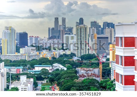Aerial view group of high rise colorful residential apartments in Redhill neighborhood in Singapore at sunset. Urban concept - stock photo