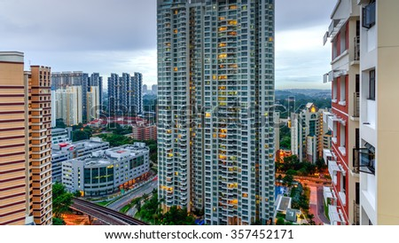 Aerial view group of high rise colorful residential apartments in Redhill neighborhood in Singapore at sunset. Urban concept. Panoramic style - stock photo