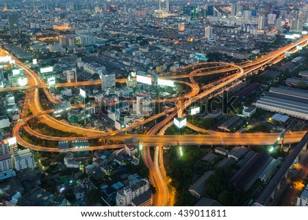 Aerial view, Highway interchanged night view, long exposure  - stock photo
