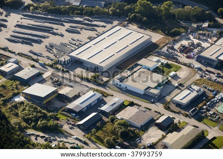 Aerial view : Industrial zone - stock photo