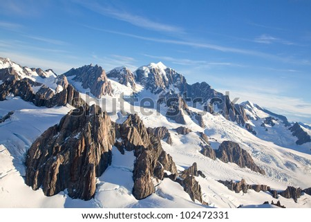 Aerial View Landscape of Mountain Cook Range with Snow covered in New Zealand - stock photo