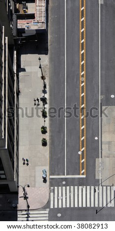aerial view looking down on a street in New York - stock photo