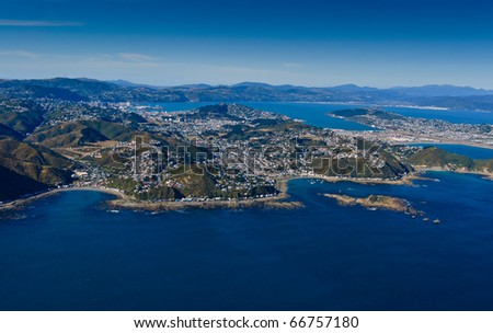 Aerial view looking from the south over Wellington, New Zealand - stock photo
