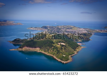 Aerial view looking south over Miramar Peninsular, Wellington, New Zealand - stock photo