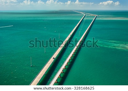 aerial view looking west along the seven mile bridge of US1 to the florida keys - stock photo