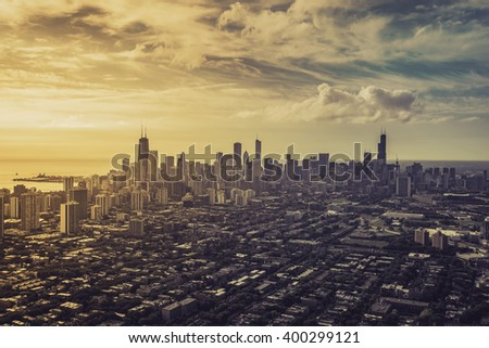 Aerial view od Chicago Downtown with light leaks, vintage colors - stock photo